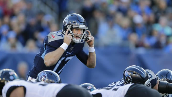 NASHVILLE, TENNESSEE - NOVEMBER 24: Ryan Tannehill #17 of the Tennessee Titans calls a play against the Jacksonville Jaguars during the first quarter of the game at Nissan Stadium on November 24, 2019 in Nashville, Tennessee. (Photo by Silas Walker/Getty Images)