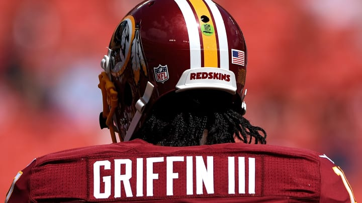 LANDOVER, MD - SEPTEMBER 14: Quarterback Robert Griffin III #10 of the Washington Redskins looks on before playing the Jacksonville Jaguars at FedExField on September 14, 2014 in Landover, Maryland. The Washington Redskins won, 41-10. (Photo by Patrick Smith/Getty Images)
