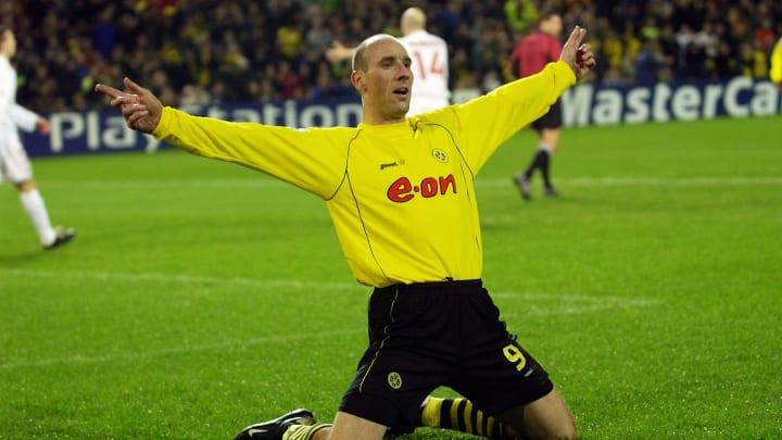 Jan Koller of Borussia Dortmund celerbrates scoring