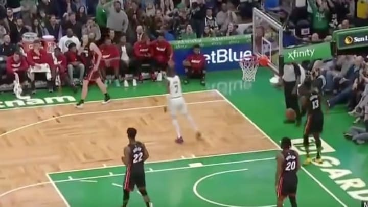 Jaylen Brown blows kiss to Miami Heat bench after hitting 3-pointer.