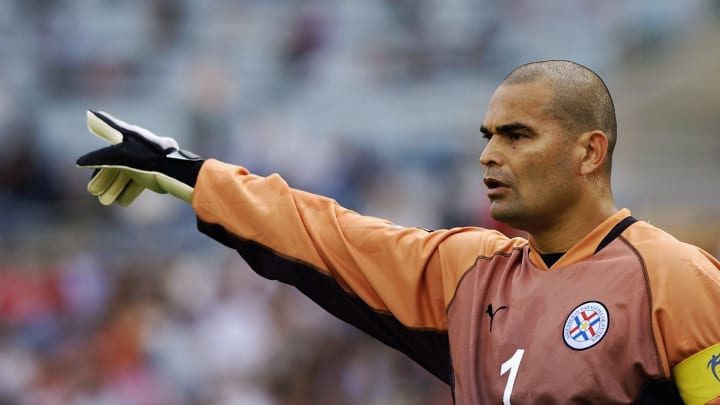 Chilavert playing for Paraguay