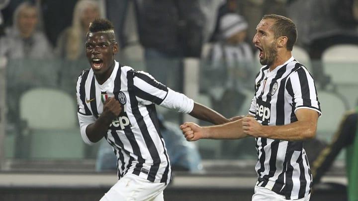 Paul Pogba and Giorgio Chiellini with Juventus