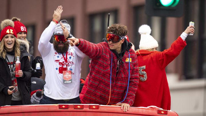 Patrick Mahomes at the Chiefs' Super Bowl parade