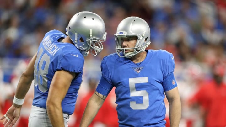 DETROIT, MI - SEPTEMBER 29: Matt Prater #5 of the Detroit Lions celebrates a field goal with teammate Don Muhlbach #48 during the first quarter of the game against the Kansas City Chiefs at Ford Field on September 29, 2019 in Detroit, Michigan. Kansas City defeated Detroit 34-30. (Photo by Leon Halip/Getty Images)