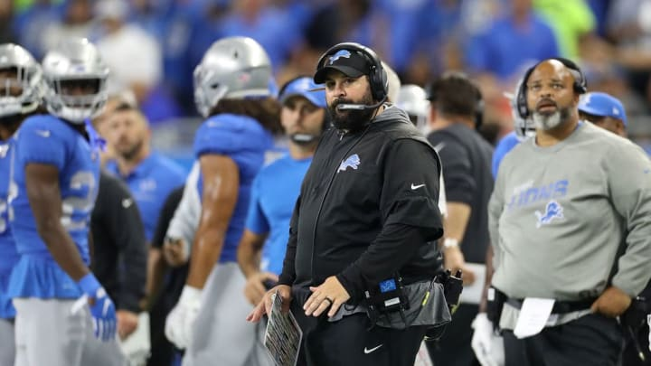 DETROIT, MI - SEPTEMBER 29: Detroit Lions Head Football Coach Matt Patricia watches the action during the third quarter of the game against the Kansas City Chiefs at Ford Field on September 29, 2019 in Detroit, Michigan. Kansas City defeated Detroit 34-30. (Photo by Leon Halip/Getty Images)