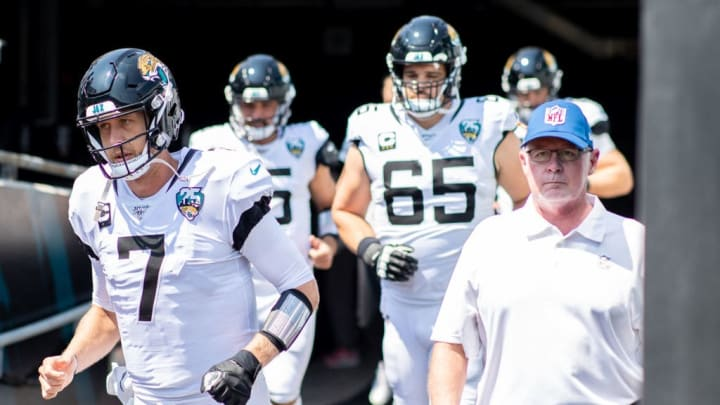 JACKSONVILLE, FLORIDA - SEPTEMBER 08: Nick Foles #7 of the Jacksonville Jaguars enters the field before the start of a game against the Kansas City Chiefs at TIAA Bank Field on September 08, 2019 in Jacksonville, Florida. (Photo by James Gilbert/Getty Images)