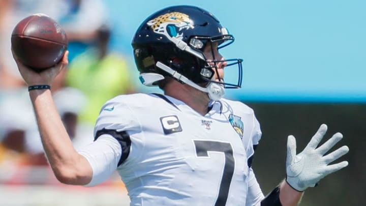 JACKSONVILLE, FLORIDA - SEPTEMBER 08: Nick Foles #7 of the Jacksonville Jaguars in action during the first quarter against the Kansas City Chiefs at TIAA Bank Field on September 08, 2019 in Jacksonville, Florida. (Photo by James Gilbert/Getty Images)