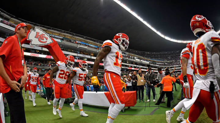 MEXICO CITY, MEXICO - NOVEMBER 18: Byron Pringle #13 of the Kansas City Chiefs (center), Tyreek Hill #10 (right), Damien Williams #26, and Reggie Ragland #59 (left), enter field before an NFL football game against the Los Angeles Chargers on Monday, November 18, 2019, in Mexico City. The Chiefs defeated the Chargers 24-17. (Photo by Alika Jenner/Getty Images)