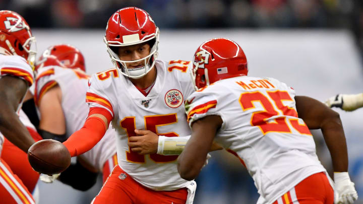 MEXICO CITY, MEXICO - NOVEMBER 18: Patrick Mahomes #15 of the Kansas City Chiefs hands the ball off to running back LeSean McCoy #25 during an NFL football game against the Los Angeles Chargers on Monday, November 18, 2019, in Mexico City. The Chiefs defeated the Chargers 24-17.(Photo by Alika Jenner/Getty Images)