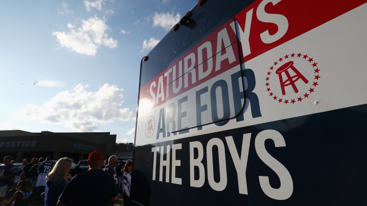 FOXBORO, MA - SEPTEMBER 07:  A Barstool Sports truck is seen parked outside of Gillette Stadium prior to the game between the Kansas City Chiefs and the New England Patriots on September 7, 2017 in Foxboro, Massachusetts.  (Photo by Adam Glanzman/Getty Images)