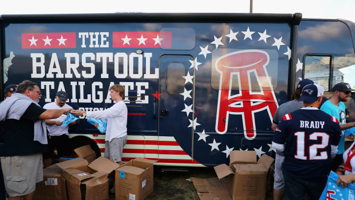 FOXBORO, MA - SEPTEMBER 07:  Fans receive towels from Barstool Sports depicting NFL Commissioner Roger Goodell wearing a clown nose prior to the game between the Kansas City Chiefs and the New England Patriots at Gillette Stadium on September 7, 2017 in Foxboro, Massachusetts.  (Photo by Adam Glanzman/Getty Images)