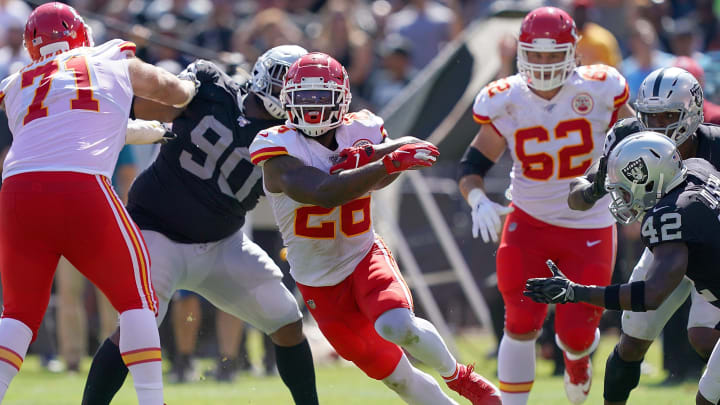 OAKLAND, CA - SEPTEMBER 15:  LeSean McCoy #25 of the Kansas City Chiefs carries the ball against the Oakland Raiders during the second quarter of an NFL football game at RingCentral Coliseum on September 15, 2019 in Oakland, California.  (Photo by Thearon W. Henderson/Getty Images)
