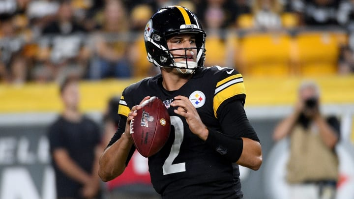PITTSBURGH, PA - AUGUST 17: Mason Rudolph #2 of the Pittsburgh Steelers drops back to pass in the first quarter during a preseason game against the Kansas City Chiefs at Heinz Field on August 17, 2019 in Pittsburgh, Pennsylvania. (Photo by Justin Berl/Getty Images)