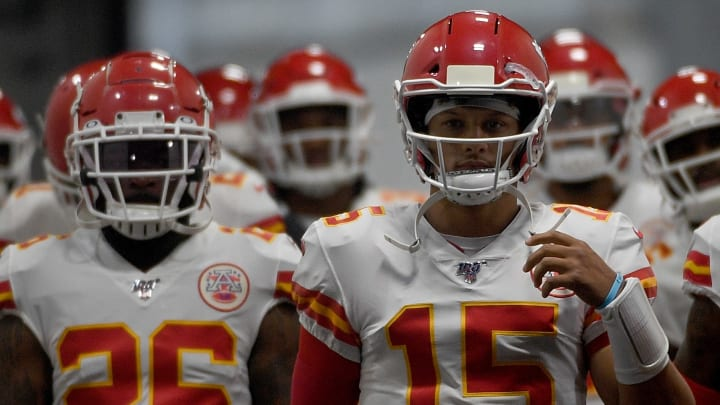 PITTSBURGH, PA - AUGUST 17: Patrick Mahomes #15 of the Kansas City Chiefs leads the team onto the field before a preseason game against the Pittsburgh Steelers at Heinz Field on August 17, 2019 in Pittsburgh, Pennsylvania. (Photo by Justin Berl/Getty Images)
