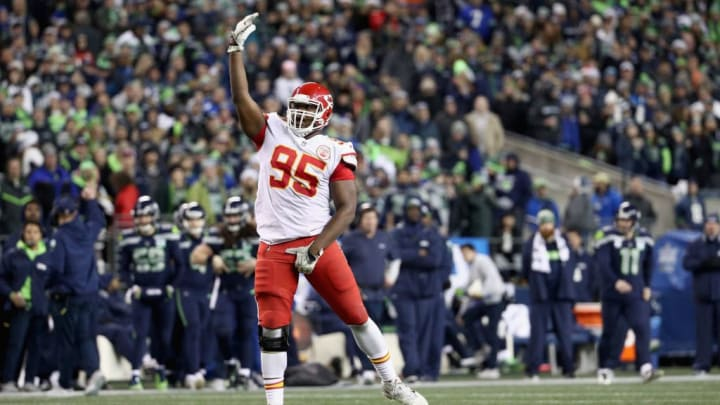 SEATTLE, WA - DECEMBER 23:  Chris Jones #95 of the Kansas City Chiefs reacts after sacking quarterback Russell Wilson #3 of the Seattle Seahawks (not pictured) during the third quarter of the game at CenturyLink Field on December 23, 2018 in Seattle, Washington.  (Photo by Abbie Parr/Getty Images)