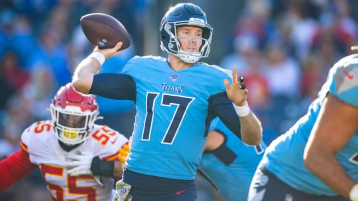 NASHVILLE, TN - NOVEMBER 10:  Ryan Tannehill #17 of the Tennessee Titans passes the ball during the third quarter against the Kansas City Chiefs at Nissan Stadium on November 10, 2019 in Nashville, Tennessee. Tennessee defeats Kansas City 35-32.  (Photo by Brett Carlsen/Getty Images)