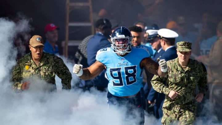 NASHVILLE, TN - NOVEMBER 10:  Jeffery Simmons #98 of the Tennessee Titans enters the field before the game against the Kansas City Chiefs at Nissan Stadium on November 10, 2019 in Nashville, Tennessee. Tennessee defeats Kansas City 35-32.  (Photo by Brett Carlsen/Getty Images)