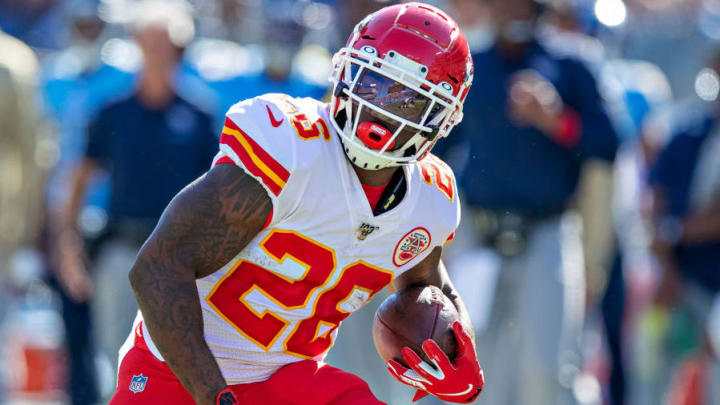 NASHVILLE, TN - NOVEMBER 10:  Damien Williams #26 of the Kansas City Chiefs runs the ball during a game against the Tennessee Titans at Nissan Stadium on November 10, 2019 in Nashville, Tennessee.  The Titans defeated the Chiefs 35-32.  (Photo by Wesley Hitt/Getty Images)
