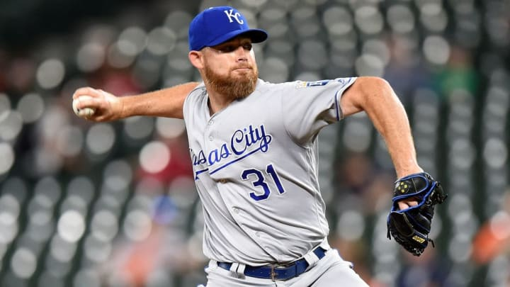 BALTIMORE, MD - AUGUST 19:  Ian Kennedy #31 of the Kansas City Royals pitches in the ninth inning against the Baltimore Orioles at Oriole Park at Camden Yards on August 19, 2019 in Baltimore, Maryland.  (Photo by G Fiume/Getty Images)