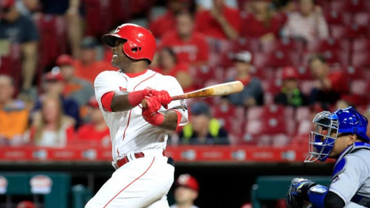 CINCINNATI, OH - SEPTEMBER 25:  Dilson Herrera #15 of the Cincinnati Reds hits a two RBI home run in the 5th inning against the Kansas City Royals at Great American Ball Park on September 25, 2018 in Cincinnati, Ohio.  (Photo by Andy Lyons/Getty Images)