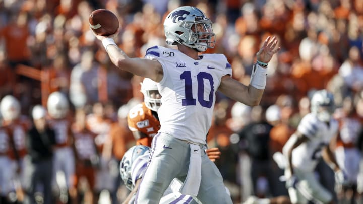 AUSTIN, TX - NOVEMBER 09:  Skylar Thompson #10 of the Kansas State Wildcats throws a pass in the first half against the Texas Longhorns at Darrell K Royal-Texas Memorial Stadium on November 9, 2019 in Austin, Texas.  (Photo by Tim Warner/Getty Images)