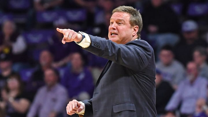 Bill Self coaching in a game vs. rivals Kansas State