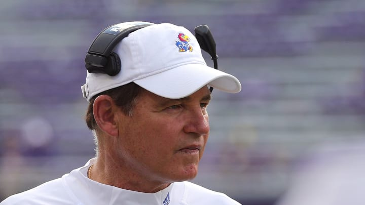 FORT WORTH, TEXAS - SEPTEMBER 28: Head coach Les Miles of the Kansas Jayhawks during the game against the TCU Horned Frogs at Amon G. Carter Stadium on September 28, 2019 in Fort Worth, Texas. (Photo by Richard Rodriguez/Getty Images)
