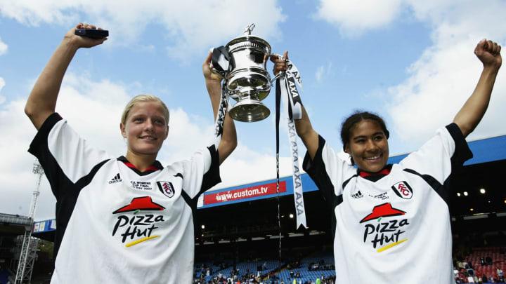 Katie Chapman and Rachel Yankee of Fulham Ladies celebrate