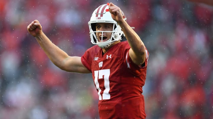 MADISON, WISCONSIN - OCTOBER 05:  Jack Coan #17 of the Wisconsin Badgers reacts to a touchdown during the second half of a game against the Kent State Golden Flashes at Camp Randall Stadium on October 05, 2019 in Madison, Wisconsin. (Photo by Stacy Revere/Getty Images)