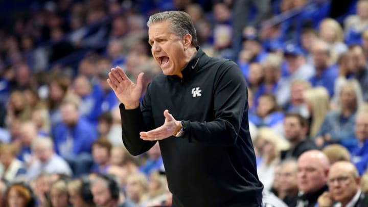 LEXINGTON, KENTUCKY - NOVEMBER 01:   John Calipari the head coach of the Kentucky Wildcats gives instructions to his team against the Kentucky State Thorobreds at Rupp Arena on November 01, 2019 in Lexington, Kentucky. (Photo by Andy Lyons/Getty Images)