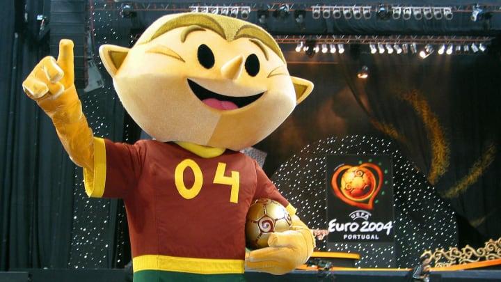 Kinas the Euro 2004 mascot poses for pho