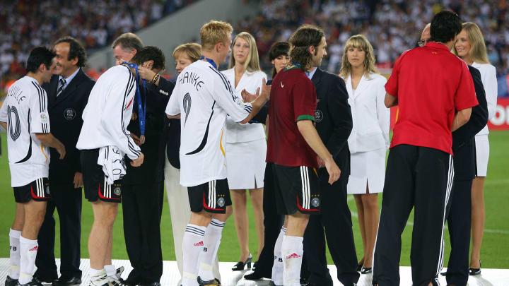 (L to R-front) German forward Oliver Neu