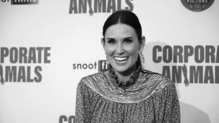 "HOLLYWOOD, CALIFORNIA - SEPTEMBER 18: (Editors Note: This image was converted to black and white using digital filters.) Demi Moore attends the L.A. Premiere of Screen Media's ""Corporate Animals"" at NeueHouse Los Angeles on September 18, 2019 in Hollywood, California. (Photo by Alberto E. Rodriguez/Getty Images)"