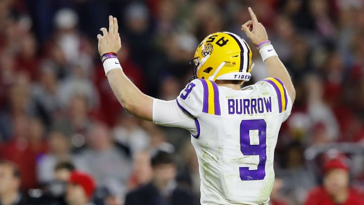 TUSCALOOSA, ALABAMA - NOVEMBER 09: Joe Burrow #9 of the LSU Tigers celebrates after a fourth quarter rushing touchdown by Clyde Edwards-Helaire #22 (not pictured) against the Alabama Crimson Tide in the game at Bryant-Denny Stadium on November 09, 2019 in Tuscaloosa, Alabama. (Photo by Kevin C. Cox/Getty Images)