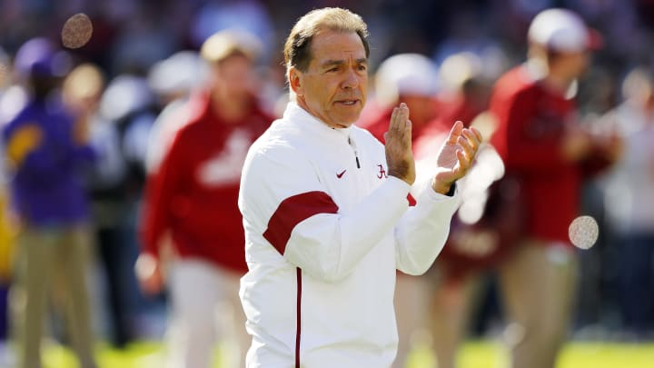 TUSCALOOSA, ALABAMA - NOVEMBER 09: Head coach Nick Saban of the Alabama Crimson Tide reacts before the game against the LSU Tigers at Bryant-Denny Stadium on November 09, 2019 in Tuscaloosa, Alabama. (Photo by Kevin C. Cox/Getty Images)
