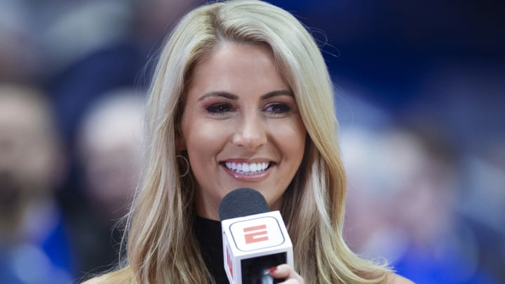 LEXINGTON, KY - FEBRUARY 12: ESPN reporter Laura Rutledge is seen during the Kentucky Wildcats and LSU Tigers game at Rupp Arena on February 12, 2019 in Lexington, Kentucky. (Photo by Michael Hickey/Getty Images)