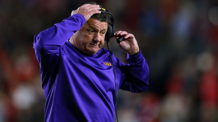 OXFORD, MISSISSIPPI - NOVEMBER 16: Head coach Ed Orgeron of the LSU Tigers reacts during a game against the Mississippi Rebels at Vaught-Hemingway Stadium on November 16, 2019 in Oxford, Mississippi. (Photo by Jonathan Bachman/Getty Images)