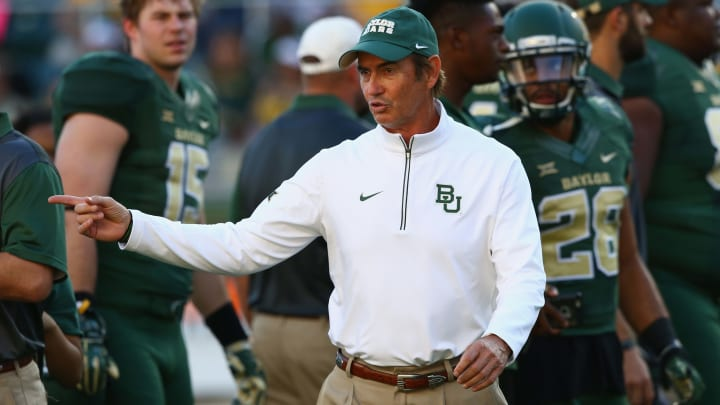 WACO, TX - SEPTEMBER 12:  Head coach Art Briles of the Baylor Bears before a game against the Lamar Cardinals at McLane Stadium on September 12, 2015 in Waco, Texas.  (Photo by Ronald Martinez/Getty Images)