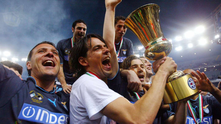 Lazio's forward Simone Inzaghi holds the