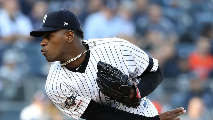 New York Yankees pitcher Luis Severino pitching against the Houston Astros
