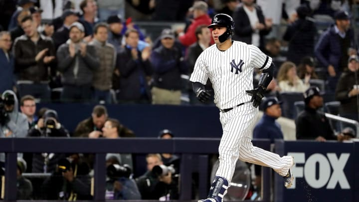 NEW YORK, NEW YORK - OCTOBER 17:  Gary Sanchez #24 of the New York Yankees rounds the bases as he hits a two-run home run against the Houston Astros during the sixth inning in game four of the American League Championship Series at Yankee Stadium on October 17, 2019 in New York City. (Photo by Elsa/Getty Images)