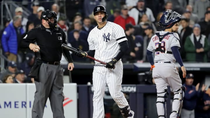 NEW YORK, NEW YORK - OCTOBER 17:  Gary Sanchez #24 of the New York Yankees reacts after striking out against the Houston Astros during the first inning in game four of the American League Championship Series at Yankee Stadium on October 17, 2019 in New York City. (Photo by Elsa/Getty Images)