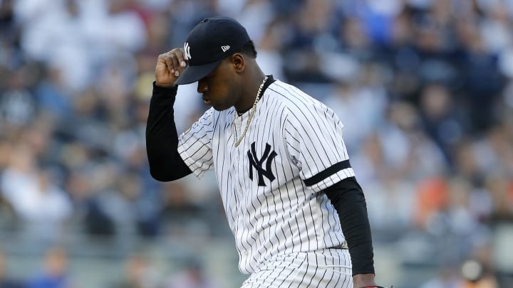 NEW YORK, NEW YORK - OCTOBER 15:  (NEW YORK DAILIES OUT)    Luis Severino #40 of the New York Yankees in action against the Houston Astros in game three of the American League Championship Series at Yankee Stadium on October 15, 2019 in New York City. The Astros defeated the Yankees 4-1. (Photo by Jim McIsaac/Getty Images)