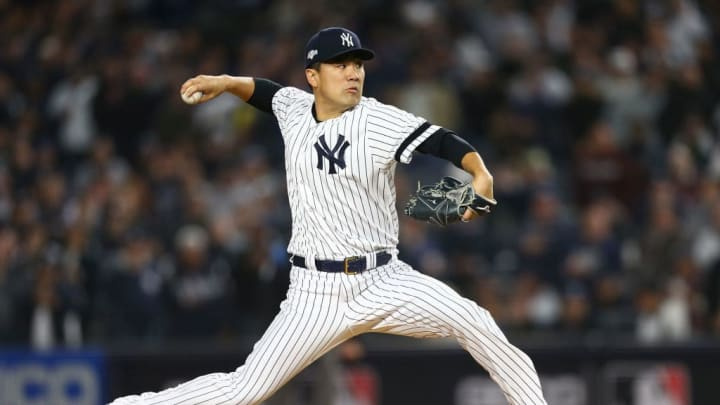 NEW YORK, NEW YORK - OCTOBER 17: Masahiro Tanaka #19 of the New York Yankees in action against the Houston Astros in game four of the American League Championship Series at Yankee Stadium on October 17, 2019 in New York City. Houston Astros defeated the New York Yankees 8-3. (Photo by Mike Stobe/Getty Images)