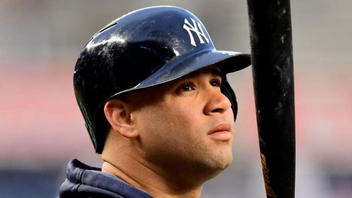 NEW YORK, NEW YORK - OCTOBER 17: Gary Sanchez #24 of the New York Yankees of the New York Yankees looks on during batting practice prior to game four of the American League Championship Series against the Houston Astros at Yankee Stadium on October 17, 2019 in the Bronx borough of New York City. (Photo by Emilee Chinn/Getty Images)