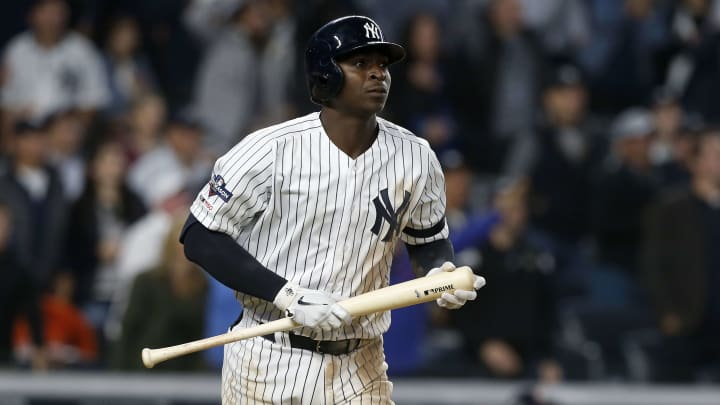 NEW YORK, NEW YORK - OCTOBER 15:  (NEW YORK DAILIES OUT)    Didi Gregorius #18 of the New York Yankees in action against the Houston Astros in game three of the American League Championship Series at Yankee Stadium on October 15, 2019 in New York City. The Astros defeated the Yankees 4-1. (Photo by Jim McIsaac/Getty Images)