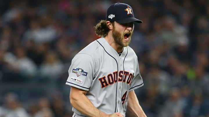 NEW YORK, NEW YORK - OCTOBER 15:  Gerrit Cole #45 of the Houston Astros celebrates retiring the side during the sixth inning against the New York Yankees in game three of the American League Championship Series at Yankee Stadium at Yankee Stadium on October 15, 2019 in New York City. Houston Astros defeated the New York Yankees 4-1. (Photo by Mike Stobe/Getty Images)