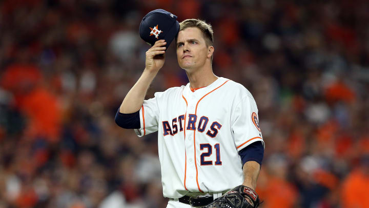 HOUSTON, TEXAS - OCTOBER 12:  Zack Greinke #21 of the Houston Astros reacts after the top of the fourth inning against the New York Yankees in game one of the American League Championship Series at Minute Maid Park on October 12, 2019 in Houston, Texas. (Photo by Bob Levey/Getty Images)