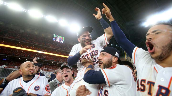 Jose Altuve and the Astros celebrate.