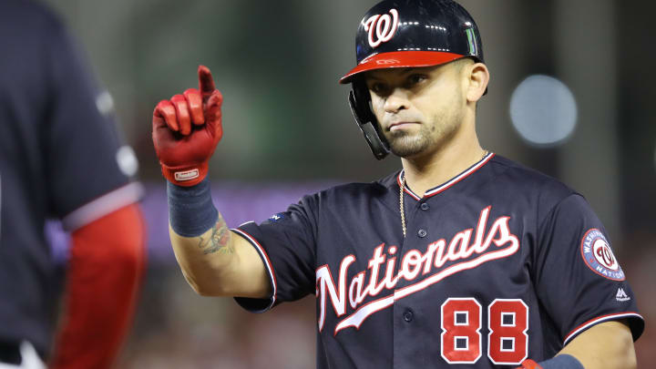 WASHINGTON, DC - OCTOBER 15: Gerardo Parra #88 of the Washington Nationals celebrates his single in the sixth inning against the St. Louis Cardinals during game four of the National League Championship Series at Nationals Park on October 15, 2019 in Washington, DC. (Photo by Rob Carr/Getty Images)